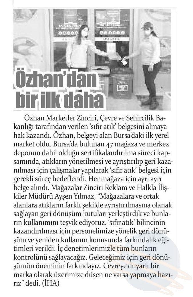 Özhan, Bursa'da ilke imza attı